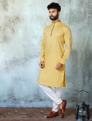 Yellow cotton festive wear stripe kurta suit