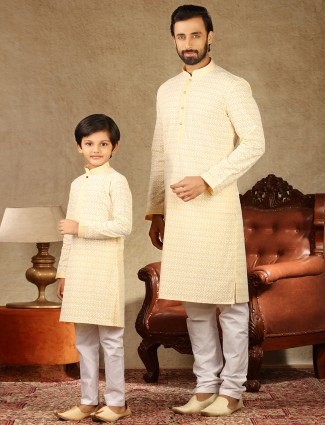 Yellow cotton full sleeeves kurta suit for father and son