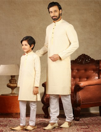 Yellow cotton full sleeeves matching father and son kurta suit