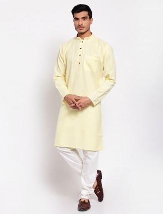 Yellow cotton kurta suit for festive sessions