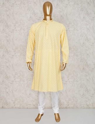 Yellow cotton kurta suit in festive wear
