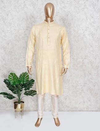 Yellow cotton kurta suit with thread work