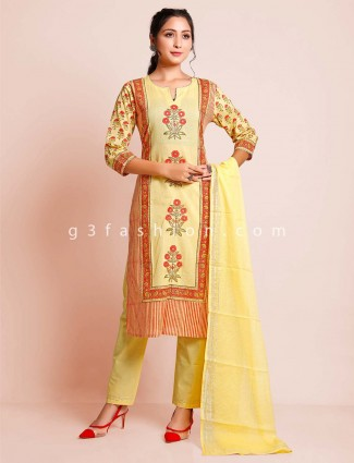 Yellow cotton pant style festive wear salwar kameez