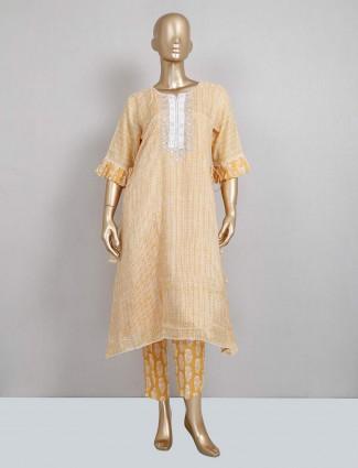 Yellow cotton pant style salwar suit festive wear