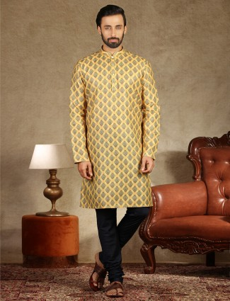 Yellow cotton printed kurta suit festive wear