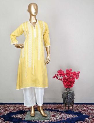 Yellow cotton punjabi style festive wear pant suit