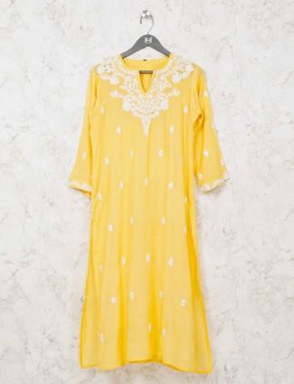 Yellow cotton quarter sleeves kurti tunic