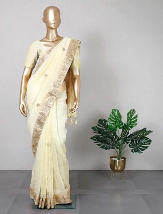 Yellow cotton saree for women