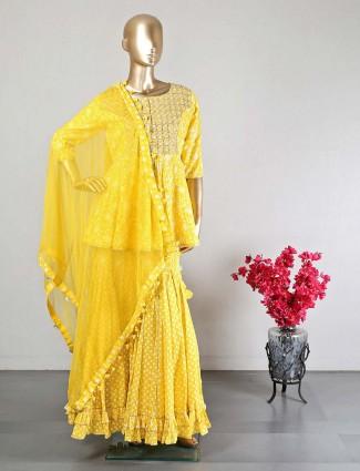 Yellow cotton sharara salwar kameez