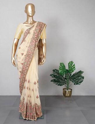 Yellow cotton silk saree for women