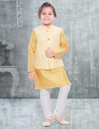 Yellow cotton silk thread work boys waistcoat set