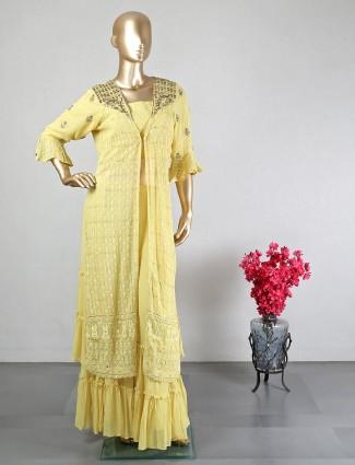 Yellow cotton silk wedding wear anarkali salwar suit