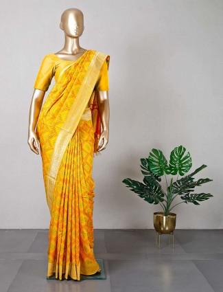 Yellow cotton silk women saree
