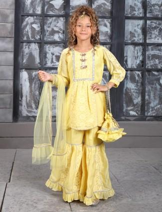 Yellow cotton wedding punjabi sharara suit