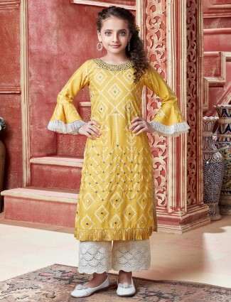 Yellow Crepe silk party wear palazzo suit