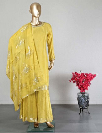 Yellow crepe silk wedding wear sharara suit