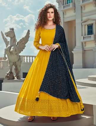 Yellow designer georgette floor length anarkali salwar suit