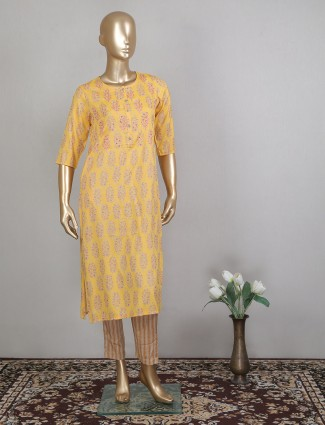 Yellow designer printed cotton casual wear pant style suit