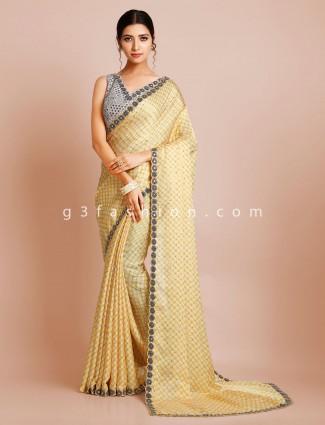 Yellow designer satin wedding saree