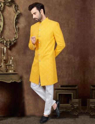 Yellow designer silk wedding wear indo western