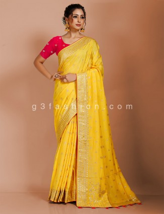 Yellow dola silk designer saree