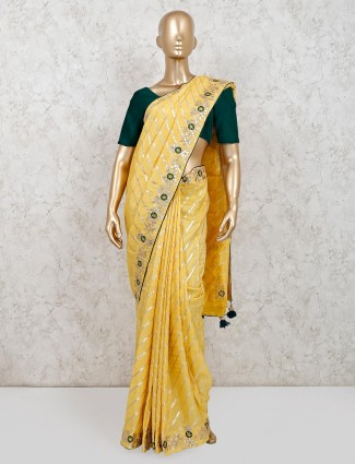 Yellow dola silk saree for party session