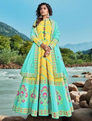 Yellow exclusive printed patola silk anarkali salwar suit