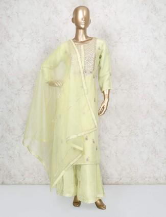 Yellow festive cotton silk punjabi palazzo suit