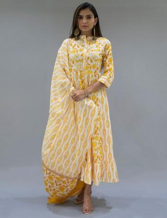 Yellow festive wear cotton kurti with gota work details