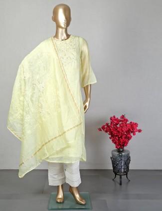 Yellow festive wear georgette salwar suit
