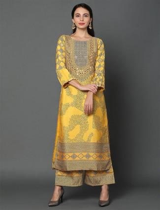 Yellow festive wear printed punjabi palazzo salwar kameez