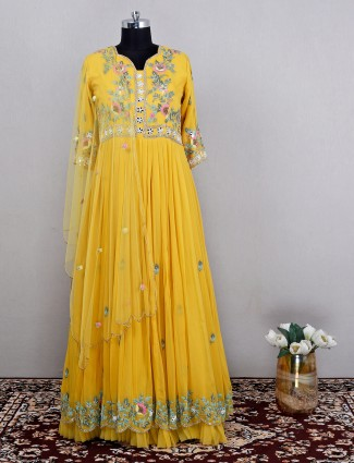 Yellow georgette anarkali suit for charming women