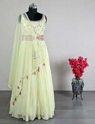 Yellow georgette anarkali suit for wedding