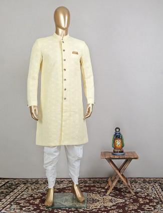 Yellow georgette designer indowestern sherwani for mens