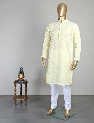 Yellow georgette festive wear kurta suit