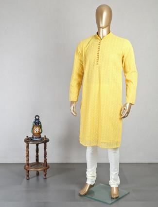 Yellow georgette mens kurta suit festive wear