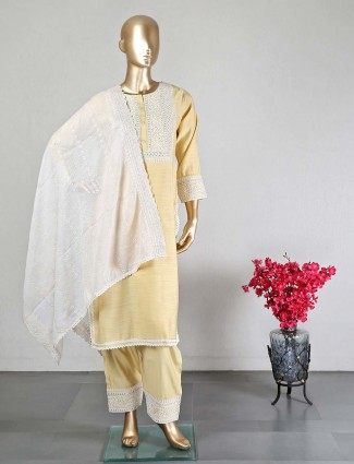 Yellow georgette palazzo suit for wedding