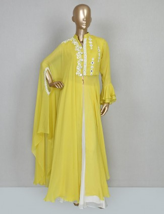 Yellow georgette party designer palazzo suit