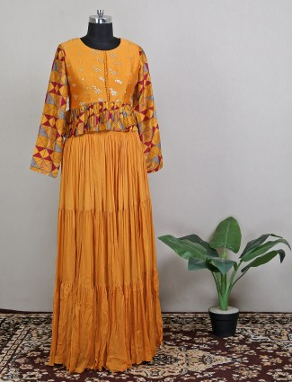 Yellow georgette pretty lehenga style suit for party wear