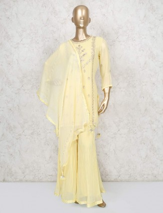 Yellow georgette sharara suit for party wear