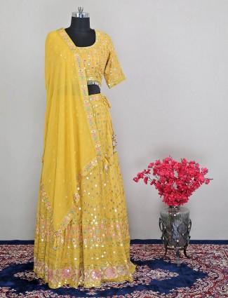 Yellow georgette wedding functions lehenga choli
