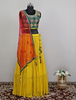 Yellow georgette wedding wear lehenga choli for pretty women