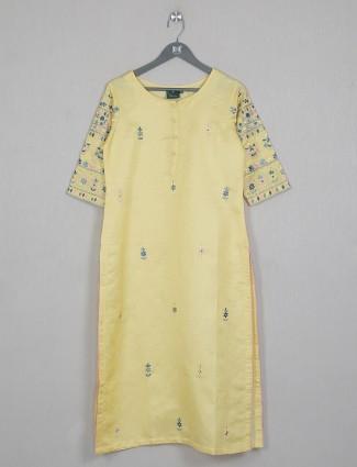Yellow gorgeous cotton casual wear kurti