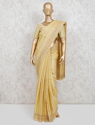 Yellow handloom cotton wedding wear saree