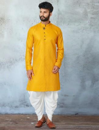 Yellow hue festive wear kurta suit for mens