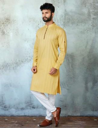Yellow hue festive wear mens kurta suit