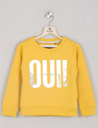Yellow hue printed style top for girls
