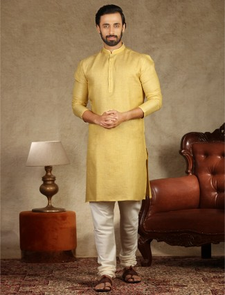 Yellow hue solid cotton fabric kurta suit