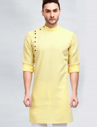 Yellow hue solid style kurta for mens