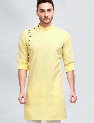 Yellow hue solid style kurta suit for mens